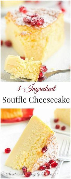 3-Ingredient Soufflé Cheesecake This melt-in-your-mouth light! #soufflé #cheesecake  #3ingredients