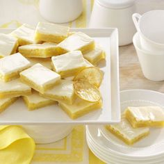 Shortbread Lemon Bars Recipe -I've put together two family cookbooks over the years, and this recipe ranks among my favorites. These special lemon bars have a yummy… Lemon Desserts, Lemon Recipes, Just Desserts, Sweet Recipes, Cream Lemon, Sour Cream, Cookie Recipes, Dessert Recipes, Lemon Bars