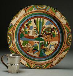 Early 20th century Mexican Tlaquepaque petatillo style charger | Colonial Arts