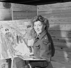 Mary Lamb Bobak -- in 1942 sne enlisted as a draughtswoman in the Canadian Womens Army Corps (CWAC). Designs for the Army Show and a prize in the 1944 Canadian Army Art Exhibition resulted in her appointment as a war artist from 1945 to 1946.