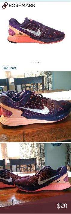 best sneakers 08779 046df Women s Nike Lunar Glide 7 Grand purple Sunset glow Hot lava color -