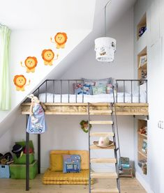 The slide connected to the loft bed is most likely one of the most-loved features among kids. A loft bed differs from a bunk bed as it's elevated and there's only 1 bed. Bunk beds and loft beds provide distinctive… Continue Reading → Cool Loft Beds, Bunk Beds With Stairs, Kids Bunk Beds, Loft Spaces, Kid Spaces, Small Spaces, Built In Beds For Kids, Rooms Decoration, Boy Decor