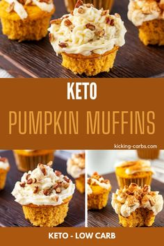 If you love pumpkin and are on a low carb or sugar free diet, you are going to fall in love with these easy to make Keto Pumpkin Muffins.  Made with almond flour and an optional cream cheese icing, these are the best healthy muffins you have had!  Great for breakfast, a fall snack, or dessert. Gluten Free Thanksgiving, Thanksgiving Recipes, Holiday Recipes, Best Low Carb Recipes, Gluten Free Recipes For Breakfast, Pumpkin Pie Spice, Pumpkin Puree, Gluten Free Brands, Oat Groats