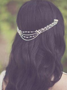 Bridal pearl hair chain, bohemian bride - Style 228