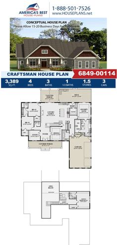 Excluisve to our website, Plan 6849-00114 features 3,389 sq. ft., 4 bedrooms, 3.5 bathrooms, the split bedroom layout, a loft, a bonus room and a study area. Learn more about this design and other on our website. Craftsman Style Homes, Craftsman House Plans, Study Areas, Bedroom Layouts, Decks And Porches, Best House Plans, Bedroom Loft, Build Your Dream Home, Architectural Elements
