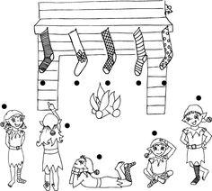 Livia, la souris, a pris un bas à chacun des lutins et les a accrochés sur la tablette de la cheminée. Peux-tu aider les lutins à les récupérer? Trace une ligne pour associer le bon bas à son propriétaire. Téléchargez et imprimez le jeu.  #enfant #jeux
