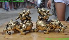China old Qing Dynasty Qianlong brass God beast a pair wealth brave troops