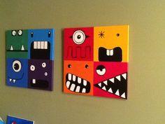 Monster art for boys room Crafts For Boys, Projects For Kids, Diy For Kids, Art Projects, Arts And Crafts, Monster Room, Monster Art, Cuadros Diy, Creation Deco