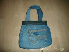 Recycletasche - aus Jeans und Leder
