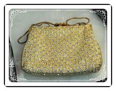 Vintage Rhinestone Evening Bag w Metallic Gold Signed by Walbaeg   PR-012a-041913015
