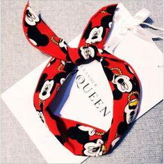 New Korean Women Girls Bunny Rabbit Ear Ribbon Wrapped Hairband Metal Wire Scarf Mickey Chiffon Bowknot Hair Hoop Headband Mickey Mouse Headband, Mickey Mouse Ears, Disney Ears, Horn Headband, Twist Headband, White Headband, Hair Scarf Styles, Baby Girl Hair Accessories, Ear Hair