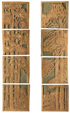 Pine Panels Left and Right -- Tile Restoration Center: reproductions of American Arts and Crafts Tiles