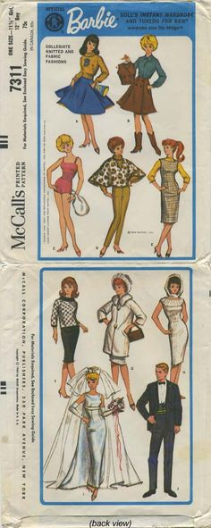 "Vintage Barbie™ Doll Clothes Sewing Pattern | Official Mattel Barbie® Doll's Instant Wardrobe and Tuxedo for Ken® wardrobe also fits Midge™ | Collegiate Knitted and Fabric Fashions | McCall's 7311 | Year 1964 | One Size - 11½"" Girl, 12"" Boy"