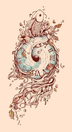 A Temporal Existence by Norman Duenas would like a seahorse instead of koi fish though. Body Art Tattoos, New Tattoos, Tatoos, Drawing Sketches, Art Drawings, Drawing Art, Piercing Tattoo, Piercings, Coy Tattoo