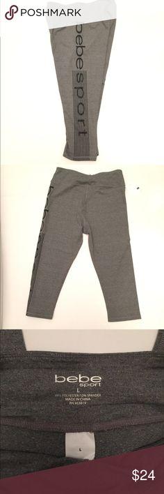 Bebe Sport Gray L Athletic Capris Yoga Pilates Super soft workout Capris size large in gray. bebe Pants Capris
