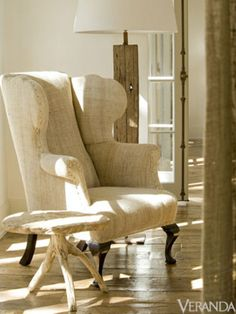 cool Belgian linen chair....awesome table and lamp
