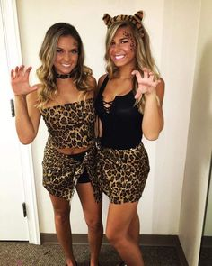 DIY Paare Kostüme für Halloween - Tarzan und Jane - New Ideas - Upload Box Cheetah Halloween Costume, Halloween Costumes Scarecrow, Best Friend Halloween Costumes, Diy Halloween Costumes For Women, Halloween Outfits, Girl Halloween Costumes College, Leopard Costume, Baby Girl Halloween, Cute Halloween