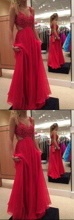 Spaghetti Strap Red Chiffon Evening Dress,Formal Beading Prom Dress #red #chiffon #long #spaghttistraps #evening #formal #okdresses