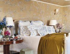 Bedroom; Love the wallpaper!