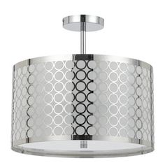This may be a bit more modern than you're looking for, but I thought it was very classy and unique. �Axis 15.75-in W Chrome Frosted Glass Semi-Flush Mount Light