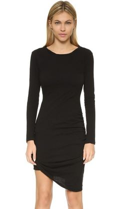 Black PAM & GELA  casual dress  for woman A formfitting Pam & Gela dress with ruched sides and a soft, twisted neckline. Long sleeves. Unlined. Fabric: Jersey. 50% polyester/37% cotton/13% rayon. Wash cold. Made in the USA. Measurements Length 1: 34.25in / 87cm, from shoulder to short point Length 2: 38.5in / 98cm, from shoulder to long point Measurements from size S. Available sizes: M,P,S #vestidoinformal #camisole #túnica #shift #pleat #pleated #drape #t-shape #daisy #foldedshoulder…