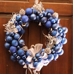 Royal Blue and Silver Christmas Wreath with bells by SummerWilson8