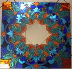 Miroir mosaïque bleu et cuivre Glitter la main grand verre                                                                                                                                                                                 Plus