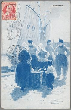 Aaquarel of geschilderd groepsportret bij de haven van Volendam. Drie mannen, twee vrouwen en een kind staan rond een mand met vis. Op de achtergrond een botter.