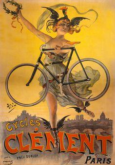 Affiche publicitaire pour les Cycles Clément à Paris, Pneu Dunlop. Créé par Jean de Paléologue en 1898 et publié par Caby et Chardin, Imprimeurs, Paris.