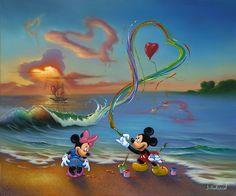 Jim Warren Fine Disney Art, Jim Warren Art, Oil on Canvas, Mickey The Hopeless Romantic, New Original, Oil on Canvas