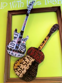 saw this on the wall at Berry Austin, a groovy little FroYo shop on 2222 and Mopac. The guitars are aptly named Fender Bender and Licensed to Thrill.
