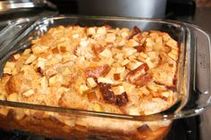 """French Toast Casserole (AKA French Toast Bread Pudding) - A pinner says, """"This is originally a Hungry Girl recipe - low on calories for good sized portion! Serve with fresh fruit and coffee for a great hearty breakfast!"""""""