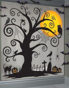 Halloween Mega Party Creepy Tree Scene Setter Silhouette Art Decoration Kit