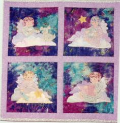 """Star Children ~ Four designs for blocks - Two girls and two boys - one dog and one cat - """"You are a child of the universe, and wherever you are God is"""". Child Of The Universe, Applique Quilt Patterns, Star Children, Two Girls, Angel, God, Cats, Painting, Design"""