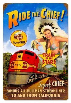 Cartel antiguo del tren Santa Fe en California