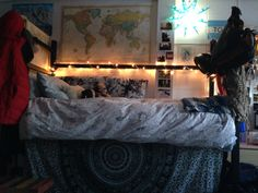 Hali's bed. Such a cute and cozy dorm bed