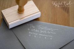 Return Address Wood Handle Rubber Stamp Large VINTAGE Calligraphy Style. $45.00, via Etsy.