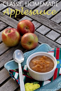 Homemade Applesauce Recipe -- this is a great way to preserve those delicious fall apples! | via @unsophisticook on unsophisticook.com