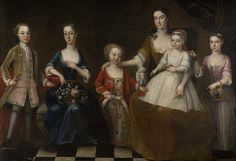 'The Flesher Family' (c1734) painted by Michael I Dahl (1656/1659-1743). Oil on canvas. 152 x 223