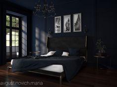Deep blue in bedroom