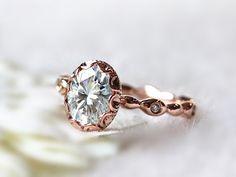 6x8mm Oval Brilliant Moissanite Engagement Ring 14K Rose Gold Moissanite Ring Wedding Ring Promise Ring Anniversary Ring on Etsy, $795.00