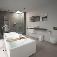 Clou - Match vrijstaand bad met douche voorzien van regendouche. Grijs afgewerkte wandtegels in badkamer. Wastafel is extra breed met fonteinkraan op enkele wastafel.
