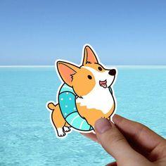 3 PCS Pool Float Sticker, Corgi Summer Vinyl Stickers, Dog Beach Laptop Stickers, Funny Car Decal, P Tumblr Stickers, Cool Stickers, Cute Laptop Stickers, Kawaii Doodles, Macbook Stickers, Dog Beach, Dog Lover Gifts, Vinyl, Sticker Design