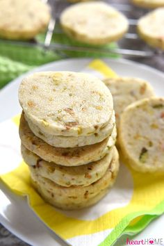Pistachio Shortbread Cookies ~ delicately sweet and studded with salty pistachios, these easy-to-make cookies can be filled with lemon curd, fruity jam, or Nutella for fun and tasty sandwich cookies   FiveHeartHome.com