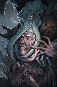 so not everyone has fun playing dungeons and dragons… Fantasy Races, High Fantasy, Dark Fantasy Art, Fantasy Artwork, Character Design Cartoon, Character Art, Character Inspiration, Cthulhu, Dungeons And Dragons