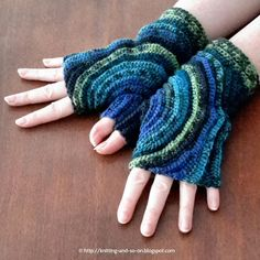 """""""Fingerless gloves crocheted in one piece - started at the thumb."""""""