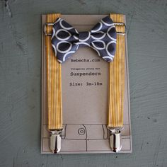 Boys Suspenders and bow tie set - mustard yellow and grey-Size 3-18 month. $27.95, via Etsy.