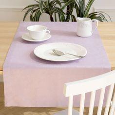Caminho de mesa algodão jacquard floral lilás
