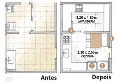 Antes e depois: cozinha e lavanderia em 13 m² | Minha Casa Architecture Design, Sweet Home, Floor Plans, Design Inspiration, How To Plan, The Originals, House, Home Decor, Layouts