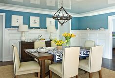 Andrew Howard interior Design - dining rooms - lacquer ceiling, lacquered ceiling, wainscoting, 3/4 wall wainscoting, dining room wainscotin...